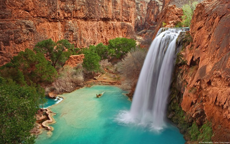 Waterfall within a canyon